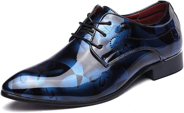 ZHRUI Fashion Men Dress Wedding shoes Round Toe Man Flats Business Leather Lace-up Footwear shoes (color   bluee, Size   6.5=40 EU)