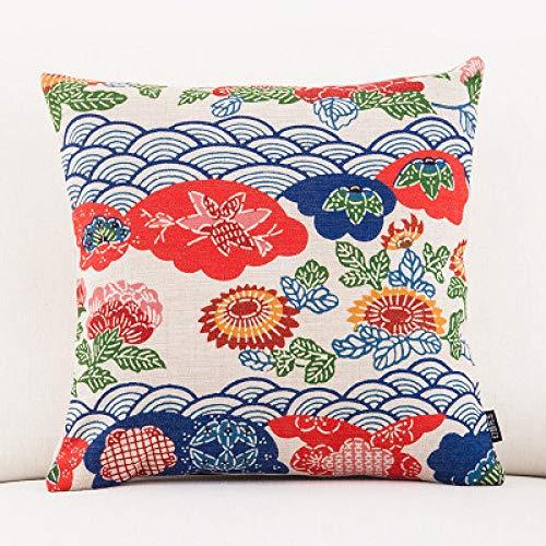 LJQLXJ KJJYUK Oreiller canapé Coussin en Lin de Coton couvre de Belles Impressions Vintage Canapé-Lit Throw Taie d'oreiller Home Decor 45 * 45 cm, 5 450 mm * 450 mm