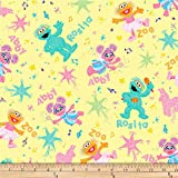 EXCLUSIVE Sesame Street Digital Abby Rosita & Zoe Yellow Quilt Fabric By The Yard