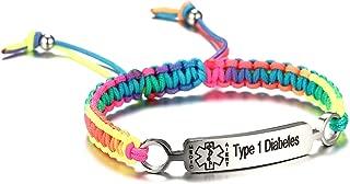 Pre-Engraved Type 1 Diabetes Medical Alert ID Bracelets for Men and Women Braided Nylon Rope