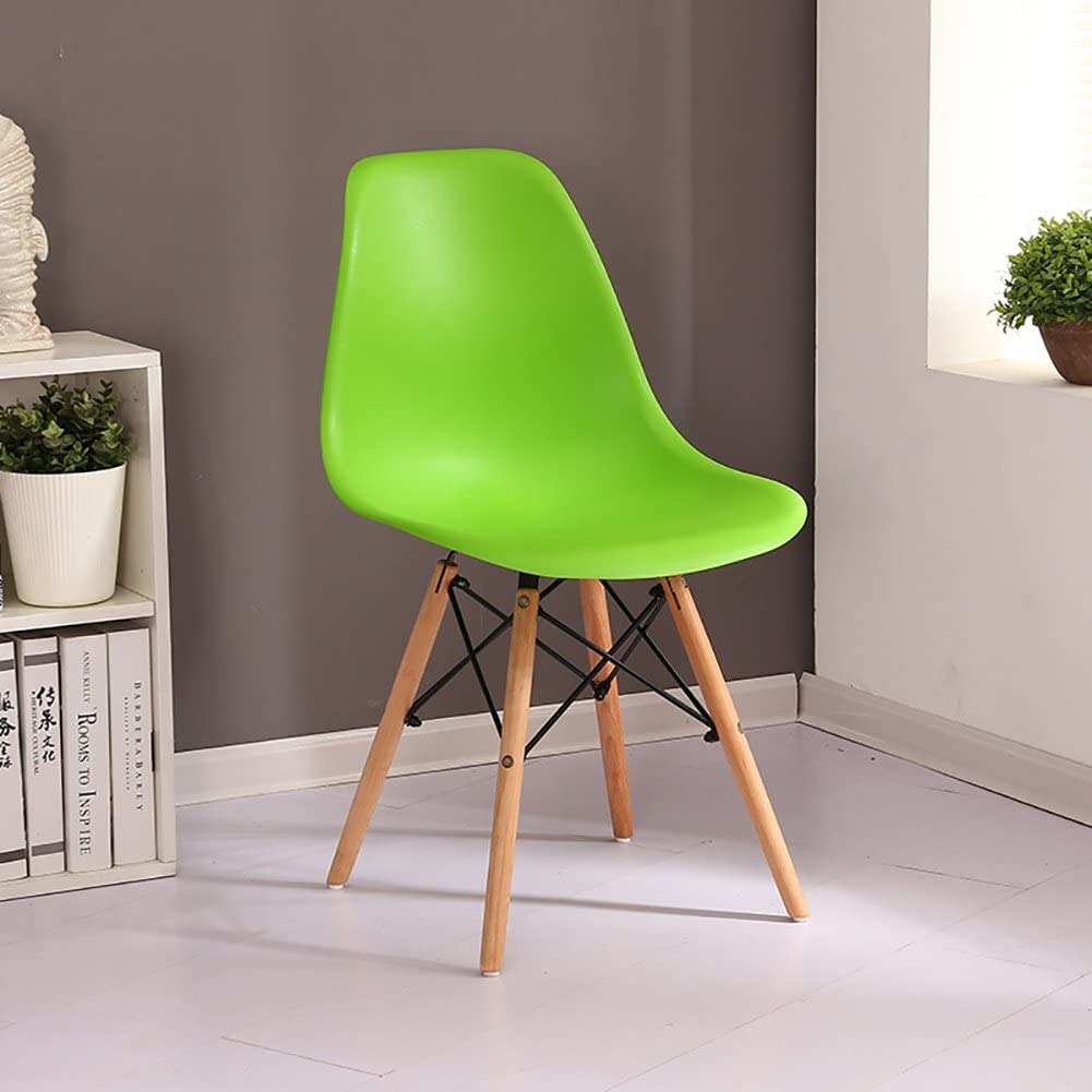 Min Chair - - Chaise créative européenne en Bois Massif, Chaise en Plastique, Salon, Chambre à Coucher, Chaise Confortable Chaise de Salle à Manger (Color : White) Green