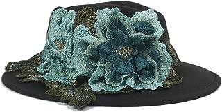 HaiNing Zheng New Women Men Fedora Hat with Blue MU Dan flower Ribbon Classical Wide Brim Felt Floppy Cloche Cap Chapeau