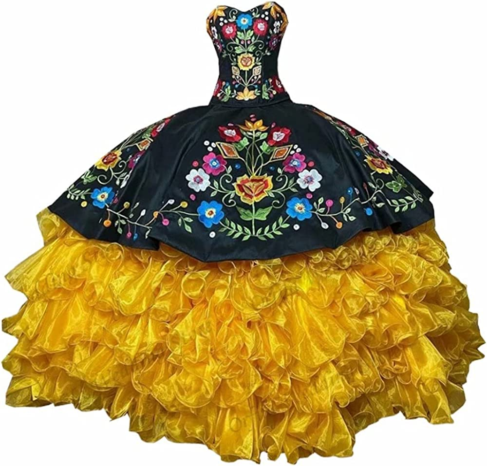 Vintage Ball Gown Flowers Embroidery Black Quinceanera Dresses Mexican Puffy Skirt Prom Sweet 16 Dress 2021