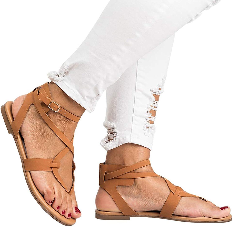 JOYBI Women's Rome Flat Gladiator Sandals Leisure Buckle Strap Comfortable Clip Toe Non Slip Ladies Casual Sandal