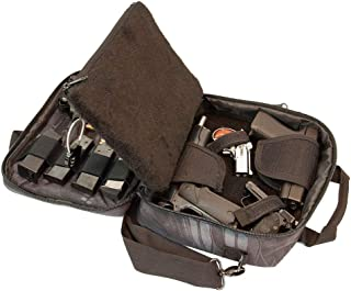 Pistol Case Range Bag for Handguns by FirstChoice Gear - 2 to 4 Gun Padded Tactical Handgun Shooting Soft Case, Lockable Zippers w/Padlock, 3 Mini-Holsters, 8 Mag Slots, 4 Pockets, w/Range Mat