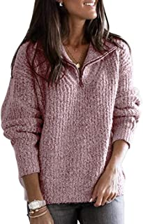 Sentao Women Knit Standing Collar Sweater Casual Thick Warm Jumper Long Sleeve Tops Pullover with 1/4 Zipper