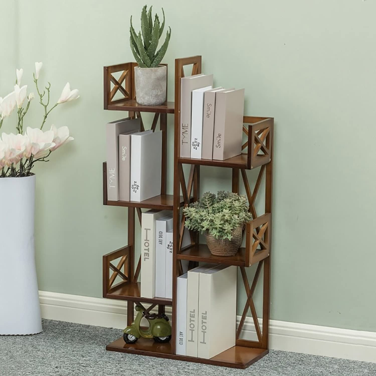 Bookshelf Tree-shaped Floor-standing Bamboo Multilayer Storage Student Living Room Study Bedroom Bookcase Flower Stand (color   6-tier, Size   70cm)