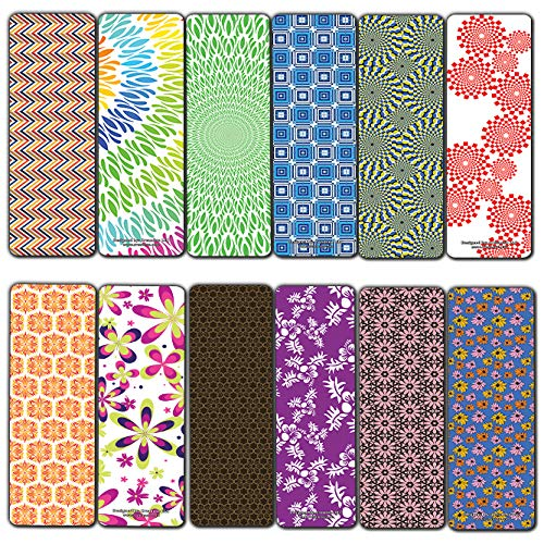 Creanoso Pattern Design Bookmarks (60-Pack) – Assorted Book Page Clippers Bulk Pack Set – Employee Rewards Incentives – Stocking Stuffers Gift Ideas for Men Women Adult – Cool Giveaways