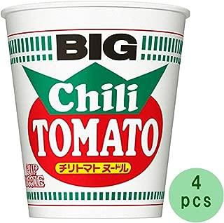Cup Noodle Big Chili Tomato 3.8oz 4pcs Japaneese Instant Noodle Cup Ramen Nissinn Ninjapo