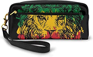 Pencil Case Pen Bag Pouch Stationary,Ethiopian Flag Colors On Grunge Sketchy Lion Head With Black Backdrop,Small Makeup Bag Coin Purse