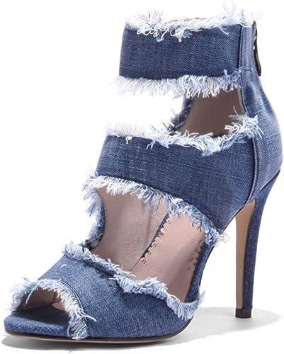 Yierkangxie Talons Hauts pour Femmes Nouvelles Chaussures pour Femmes Talons d'été pour Femmes Talons pour la Bouche du Poisson Sandales Talons Aiguilles Denim (Couleur   bleu, Taille   34)
