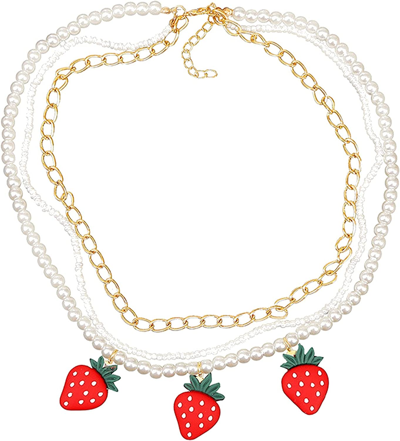 Multilayer Fruit Strawberry Pineapple Pendant Pearl Choker Colorful Beads Flowers Necklace Party Cute Women Bohemia Handmade Jewelry