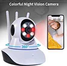 WiFi Video Baby Monitor Camera with Colorful Night Vision,1080P WiFi Indoor Home Security Surveillance Cameras for Child Home Pet with Remote Control&2 Way Audio-(YouTube Set up Video)