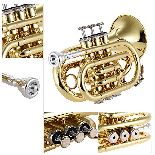 ammoonトランペットBbフラット真鍮管楽器ミニポケットマウスピースグローブクリーニングクロスキャリングケース付キ