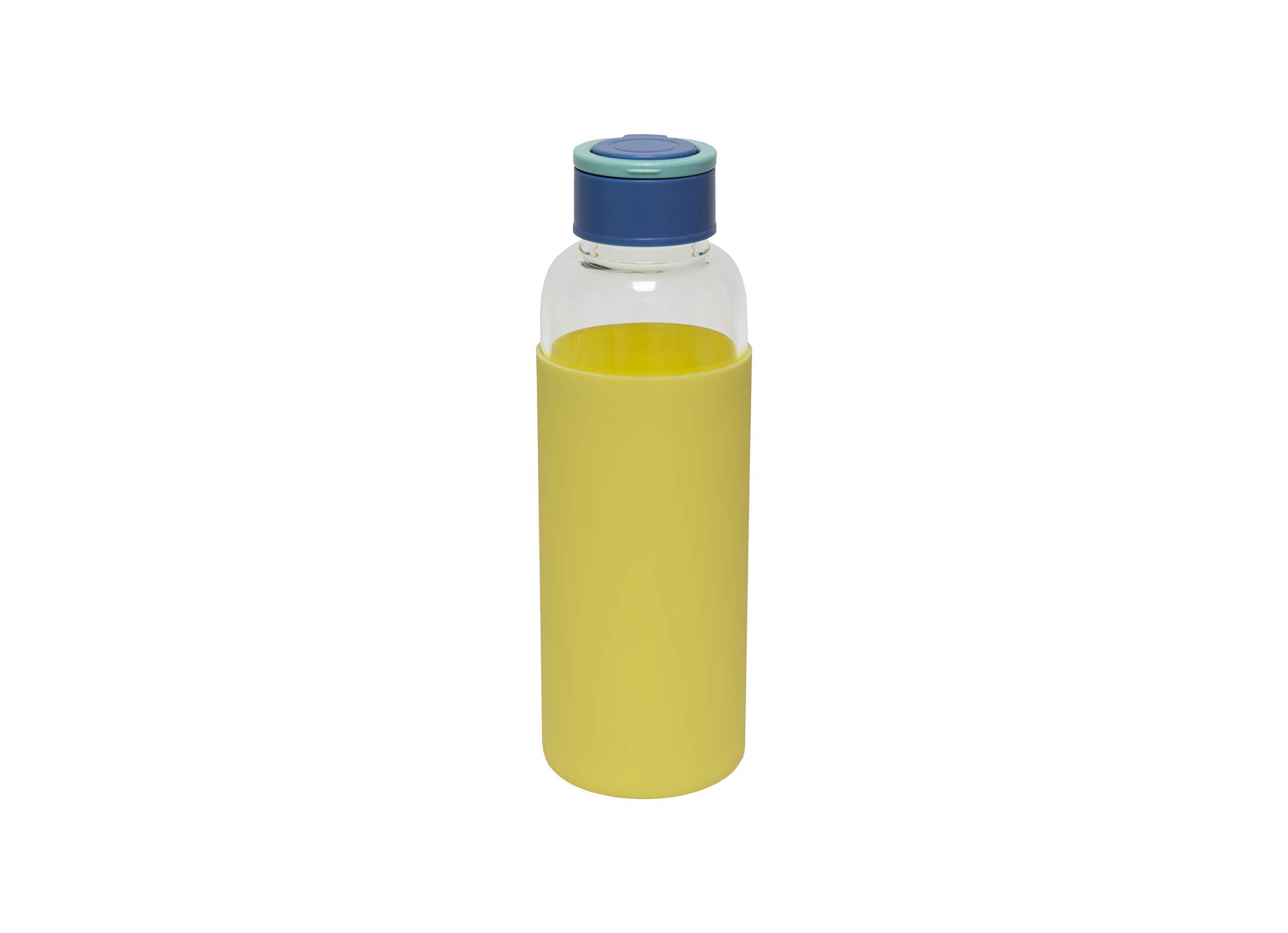 Fisura | Botella de Agua de Cristal con Funda de Silicona Eco-Friendly Reutilizable 480 ml. Apta para niños. 20,5 x 6 cm. (Amarillo): Amazon.es: Deportes y aire libre