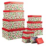 Christmas Nesting Gift Boxes with Lids, 10 Sizes for Holiday Decor (Set of 10)