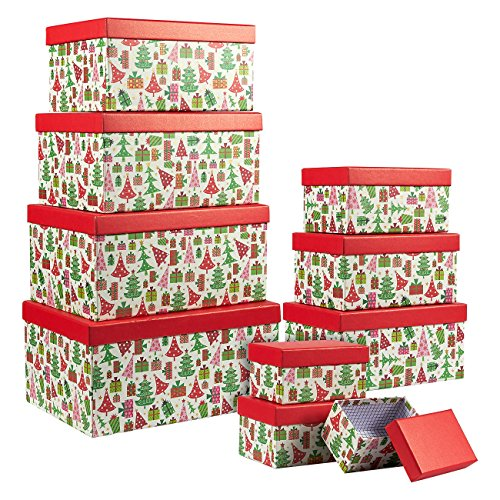 Juvale Set of 10 Boxes - Nesting Box Set with Lids, for Christmas Morning, Winter Birthdays, 10 Assorted Sizes