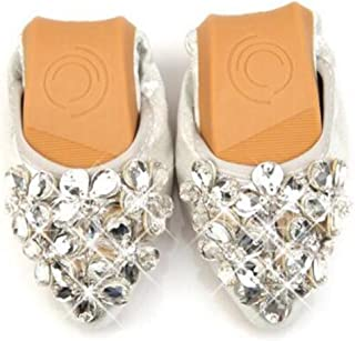 COVOYYAR Women's Pointed Toe Rhinestone Flower Bling Ballet Flats Casual Slip On Shoes