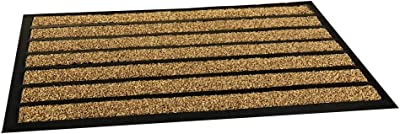 "E-view Non Slip Heavy Duty Welcome Doormat Washable Door Mat 18""x29"" Rubber Back Entrance Rug - Outdoor Indoor Mats for Doorstep/Patio Entry/Garage Coffee"