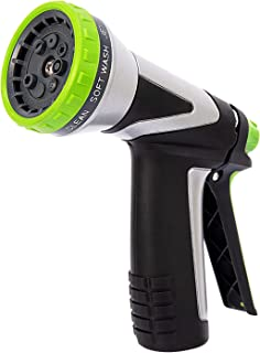 Hose Nozzle Garden with 8 Spray Patterns,Heavy Duty Metal Water Hose Nozzle Sprayer,Best for Watering Lawns and Garden, Cl...