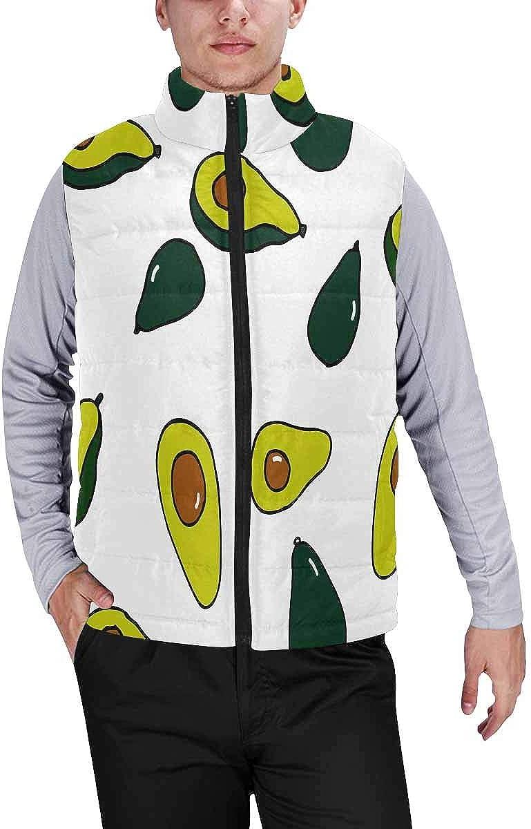 InterestPrint Men's Winter Full-Zip Outwear Padded Vest Coats Cartoon Pigs and Sweets