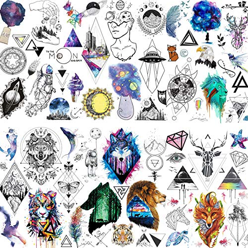 LAROI 6 Blätter 3D Mädchen Jungen temporäre Tattoos Kinder Party Set Männer Frauen kleine Tattoos Aufkleber groß Aquarell Tiere Kind Tattoos temporär farbe wasserdicht Weltraum Mond Tatoos Arm Damen
