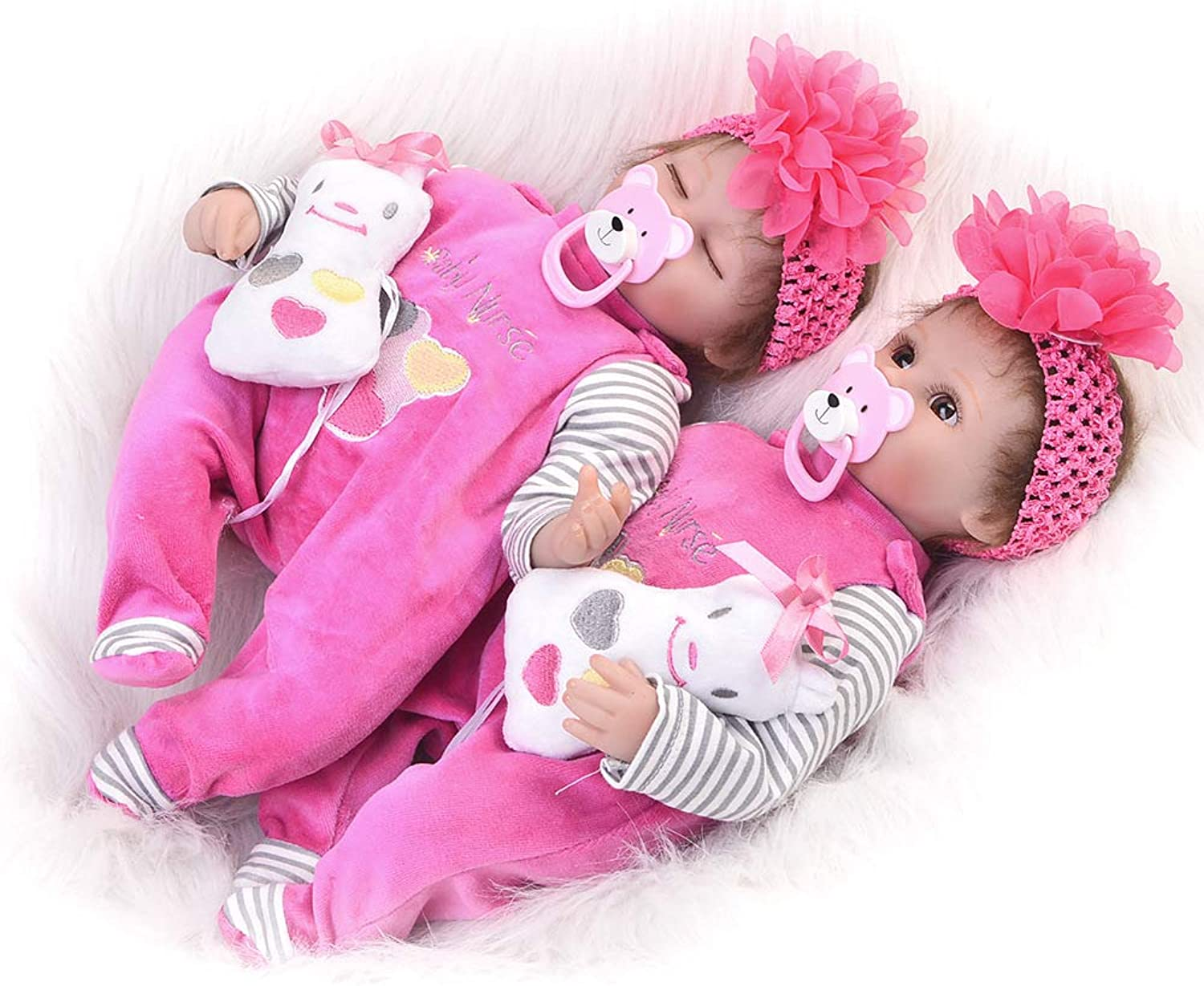 Homesave Reborn Baby Doll Twin Sisters, Soft Simulation Vinyl 17 Inch 43 Cm Birthday Gift for Twin Sisters 2PCS