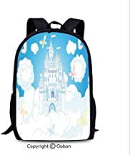 Women's Anti Theft Backpack, Illustration of a Fairy Tale Castle Clouds in The, School Bag :Suitable for Men and Women, School, Travel, Daily use, etc.White and Sky Blue