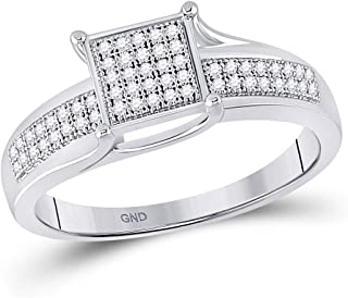 FB Jewels Sterling Silver Womens Round Diamond Square Cluster Ring 1/6 Cttw