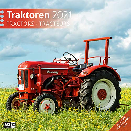 Traktoren 2021, Wandkalender / Broschürenkalender im Hochformat (aufgeklappt 30x60 cm) - Geschenk-Kalender mit Monatskalendarium zum Eintragen
