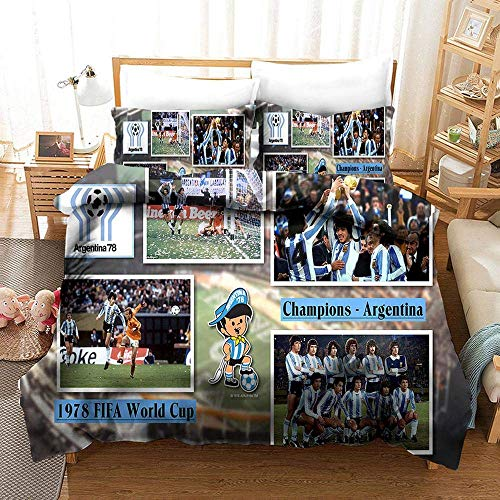 228 Duvet Cover Sets 3D World Cup Printing Bedding Set 100% Polyester 1 Duvet Cover Set And 2 Pillowcases 3pcs I-US Queen228x228cm