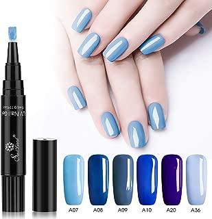 6 Colors Gel Nail Polish Pen Set, Saviland Blue Series Soak Off UV LED Nail Varnish LacquerNail Art Kit