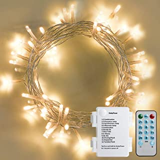 Koopower 4 Music Control Modes 60 LED Curtain Lights Battery Powered String Light 8 Modes Clear Fairy Light for Outdoor Christmas Wedding Party Bedroom(Warm White)