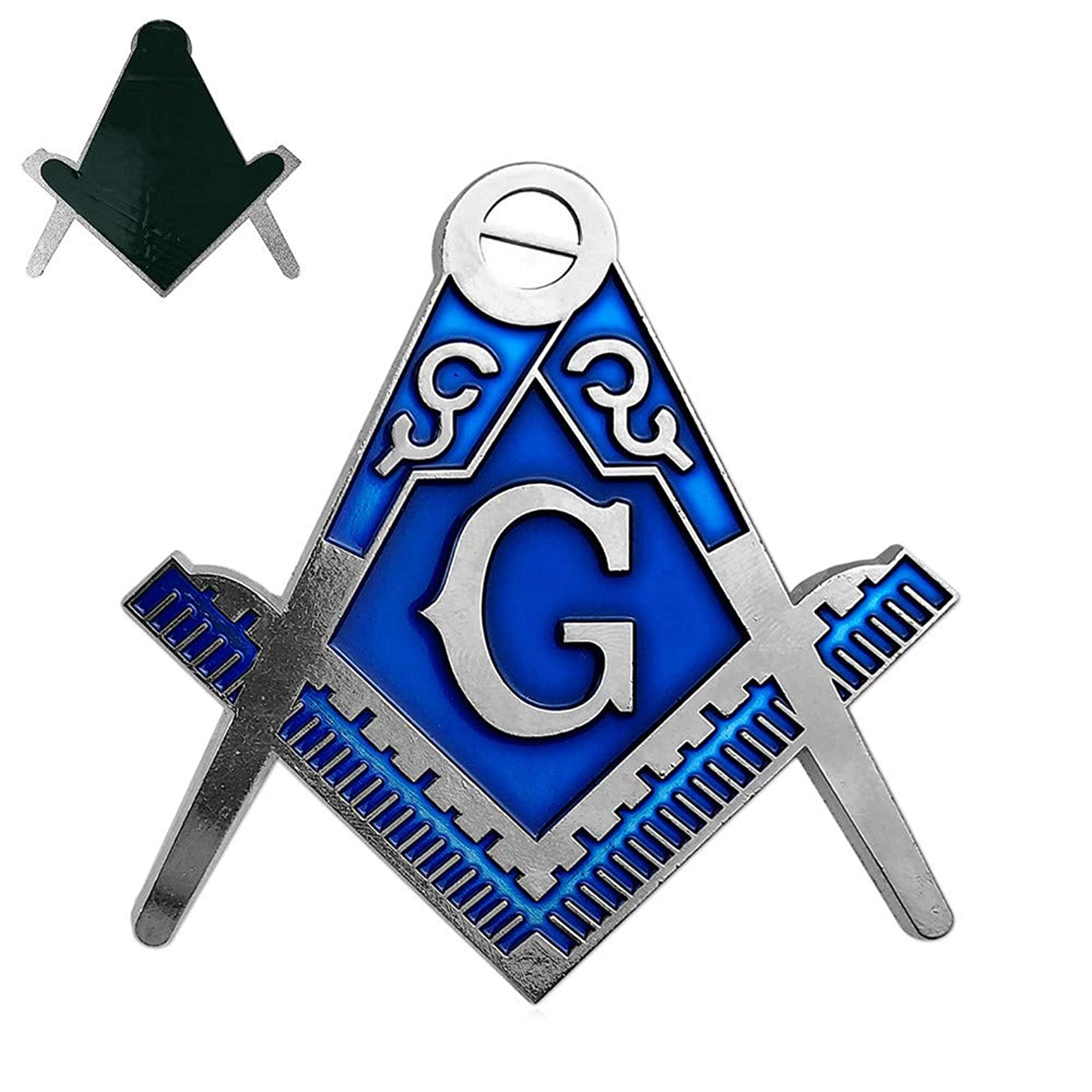 Square & Compass G Masonic Car Emblem Blue Silver Auto Decal