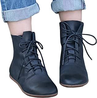 Womens Lace-up Ankle Boots Low Heel Pointed Toe Soft Faux Leather Vintage Flat Booties Shoes