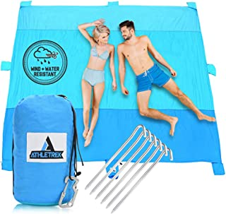 Extra Large Beach Blanket by Athletrek | Durable Sand Proof Water Resistant Beach Mat | Lightweight Quickdry 210T Ripstop Nylon | 10' x 9' Outdoor Blanket for Picnics Travel Sports Camping