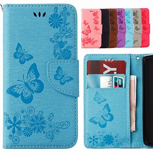 Yiizy Samsung I9190 Galaxy S4 Mini / I9190 Funda, Mariposa Flor Diseño Billetera Carcasa Estuches PU Cuero Cover Cáscara Protector Piel Ranura para Tarjetas Estilo (Azul)