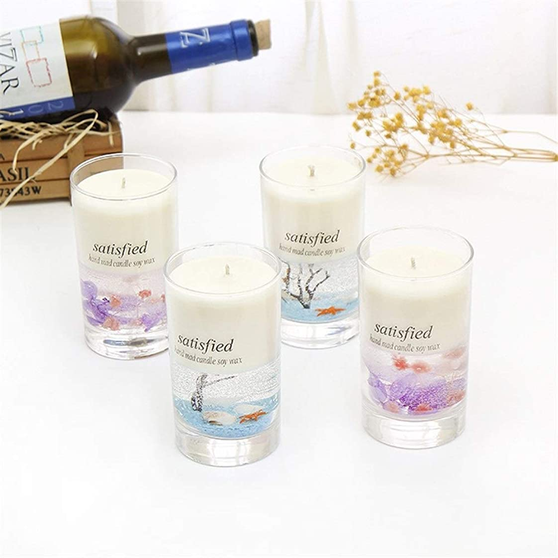 合図火薬リーGuomao シンプルなガラスボトルアロマセラピーガラスカップ無毒で環境に優しいアレンジメント用品キャンドルラスティングフレグランス (色 : Lavender)