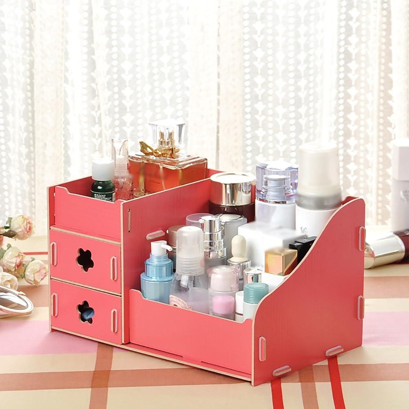 告発置き場間違いなくメイクボックス DIYテーブル収納メイクスキンケアオーガナイザー引き出しタイプリップスティックケースボックス ( 色 : 赤 )