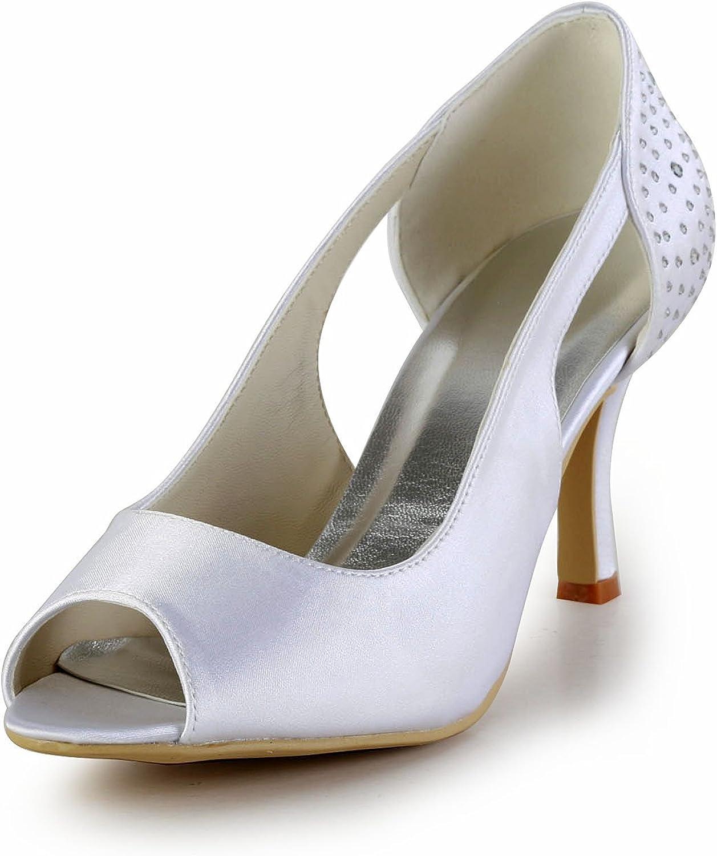Minishion GYAYL415 Womens High Heel Satin Evening Party Bridal Wedding shoes Sandals