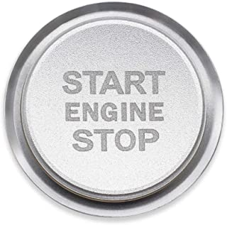 Ceyes Silver Engine Start Stop Switch Button Car Push to Start Button Trim Cover + Ring Auto Engine Ignition Start Stop Button Ignition Switch Button Sticker for Volkswagen VW Tiguan Phideon Teramont