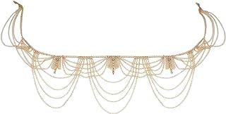 Femnmas Gold Plated Multi Chain Rhinestone Belly Waist Chain Kamarband for Women & Girls