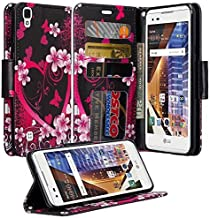 LG Tribute HD Case, LG X Style Case, LG Volt 3 Case Luxury PU Leather Wallet Flip Protective Case Cover with Card Slots and Stand For LG Tribute HD LS676/LG X Style/LG Volt 3 - Hot Pink Sensation