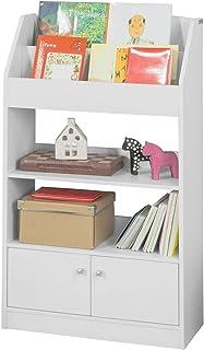 SoBuy® KMB11-W Bibliothèque Étagère à Livres Étagère de Rangement Jouets pour Enfants Porte-revues 2 Compartiments Livres,...