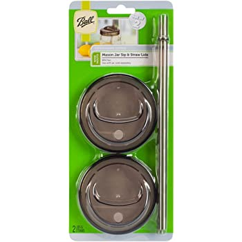 Ball 4-Piece Sip & Straw Lids Set for Wide Mouth Mason Jars   Grey   (2-Lids and 2-Straws)