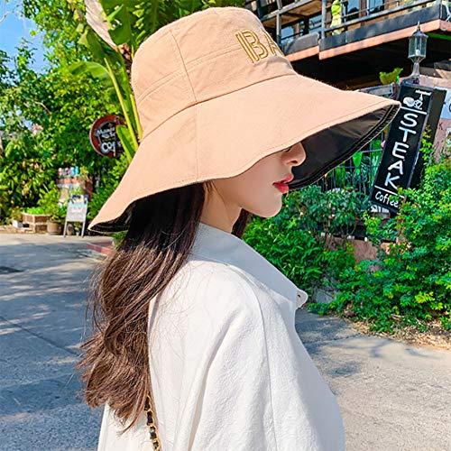TJLJFTILTIR Signore Pieghevole Anti-UV Solare Cappello Grande Lungo Piccola Protezione del Bacino della Protezione della Spiaggia Primavera Estate della Signora Parasole Facile da Piegare,G,56~58CM