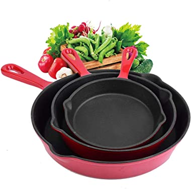 Skillet Kit Enameled Cast Iron Frying Pan Pre-Seasoned Pan Professional Cookware 3 Pcs for Home Restaurant Use Durable