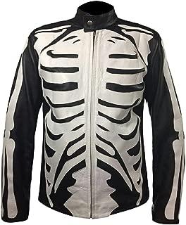 Men's Fashion Skeleton Bones Sketch Rob Zombie Leather Jacket Black & White