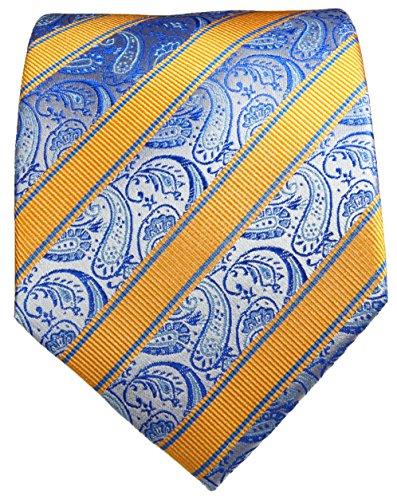 Cravate homme bleu jaune paisley 100% soie