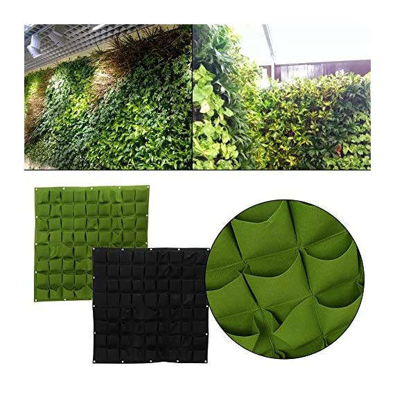 72 Pocket Vertical Wall Garden Planter,Wall Hanging Planting Bags for Garden Indoor Outdoor (16 Pockets) 5 ❤The felt material, meet environmental standards, non-toxic biodegradable, anti ultraviolet, anti-corrosion, sunscreen, heat. ❤Hanging on the walls, save space, planting strawberries, vegetables, foliage plants. ❤Reusable, portable, economical and practical.